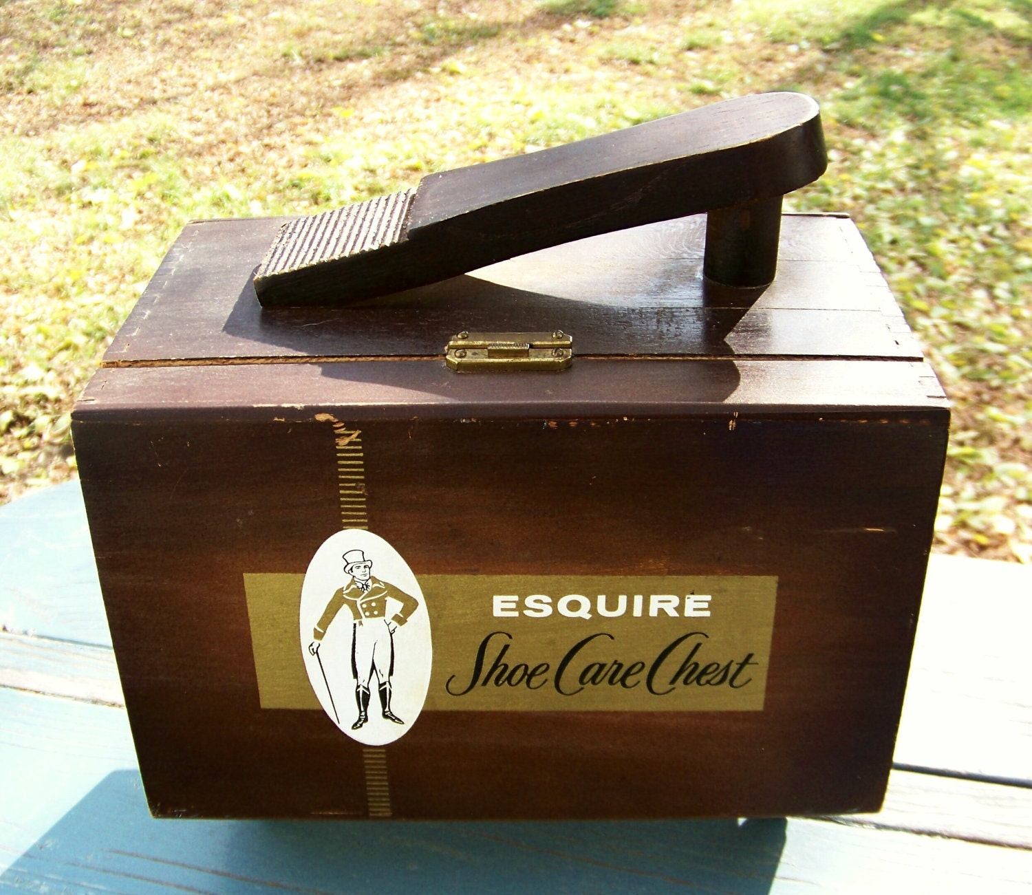 1950s wood esquire shoe care chest wooden shoe shine box kit with