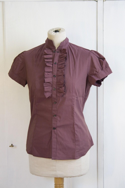 BURGUNDY LUSH shortsleeved very ruffled shirt by giunta on Etsy from etsy.com