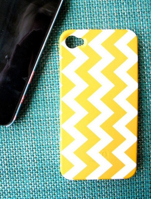 Yellow Chevron ZigZag iPhone 3G 3GS 4 or iPod Case - Choose Your Own Color