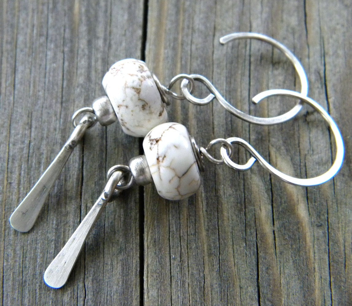 Natural White Turquoise Gemstone Rondelles -  Antiqued Sterling Silver Paddle Earrings