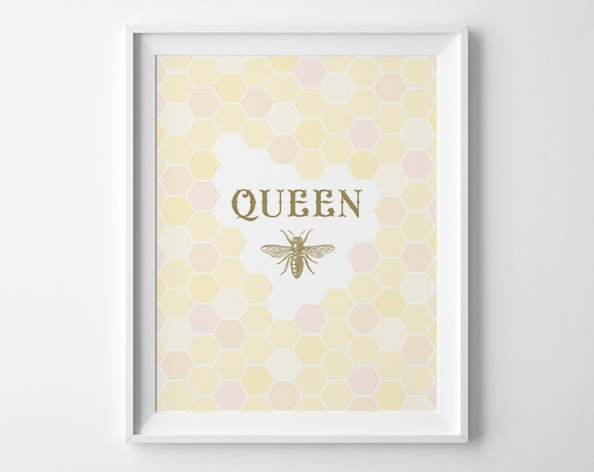 Queen Bee Art, Teen Girl Room Decor, Princess Decor, Yellow and Pink Girls Room Art, Yellow Nursery Decor, Gold Teen Girl Wall Art, Bee Hive - SweetPeonyPress