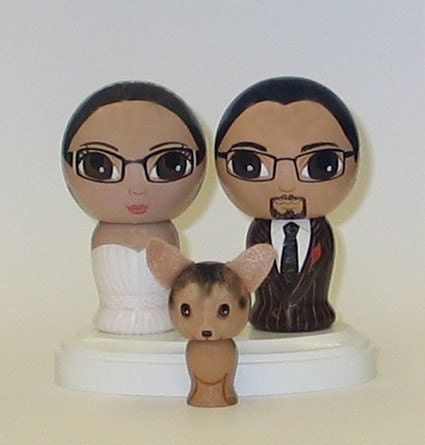 Custom Wedding Cake Toppers with Pet and Base