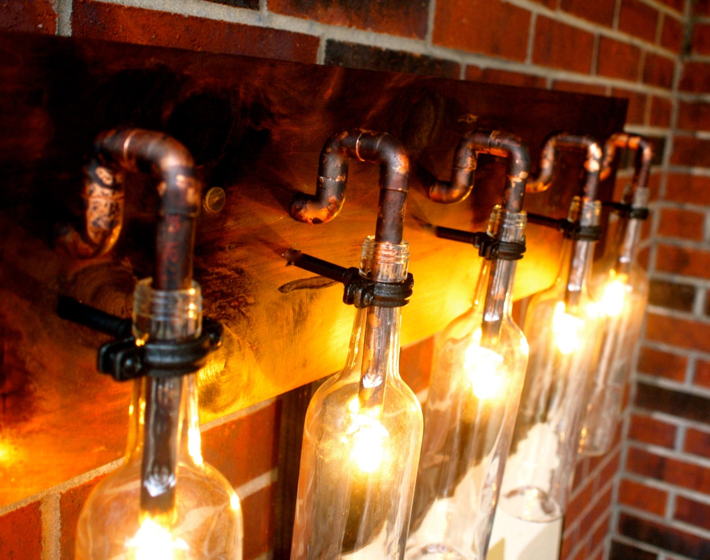 Wine bottle light lamp industrial vanity sconce by bsquaredinc - Wine bottle light fixtures ...