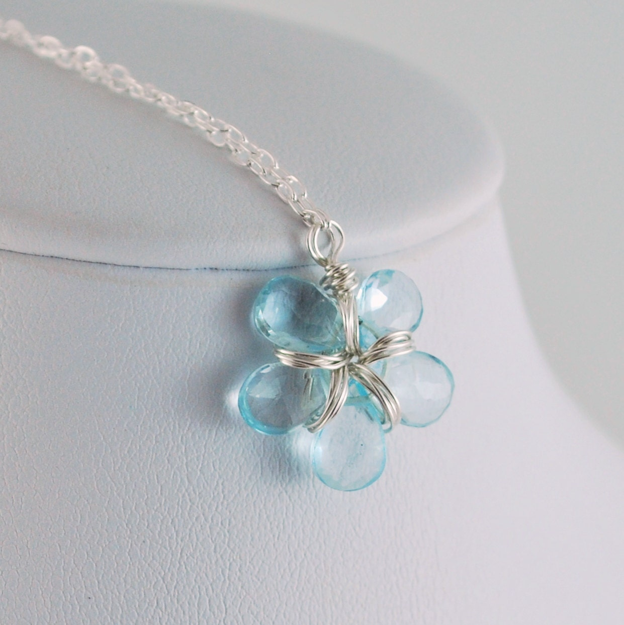 Blue Topaz Birthstone Necklace December by myfirstjewellery
