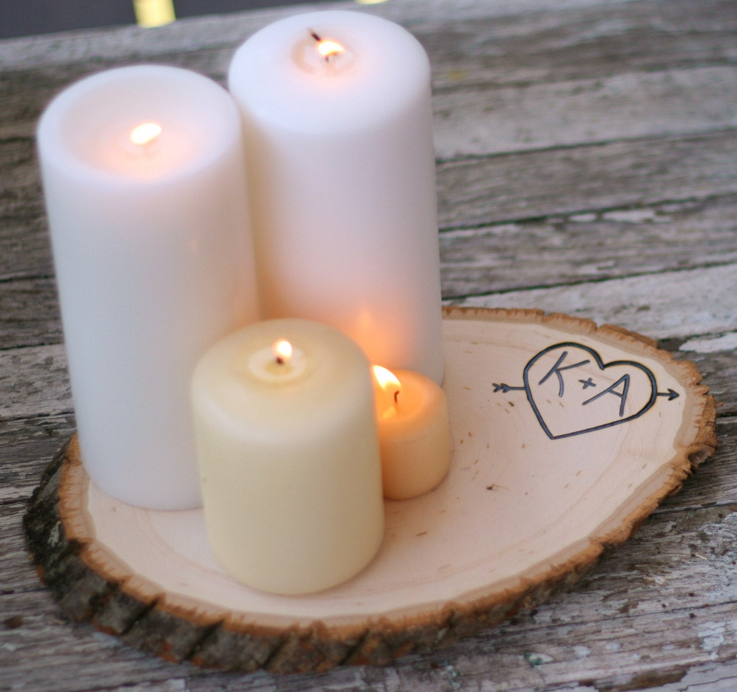 LARGE set of 12 Personalized Custom Engraved Heart and Arrow Wood Tree Slice Wedding Centerpiece Candle Flower Arrangement Stand Woodland Rustic Outdoor Fairytale Barn Farm Summer Spring Garden Wedding Shabby VINTAGE CHIC