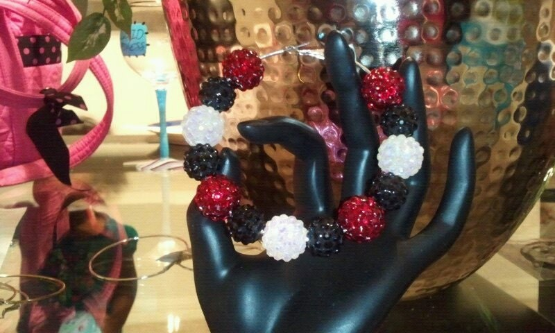 Basketball Wives Bling Hoops Red and Black