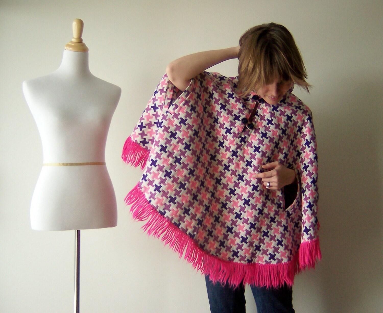 Vintage Pink Frayed Houndstooth Cape