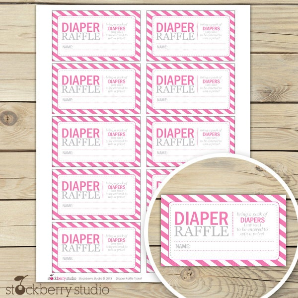 Hot Pink Baby Shower Diaper Raffle Tickets by stockberrystudio