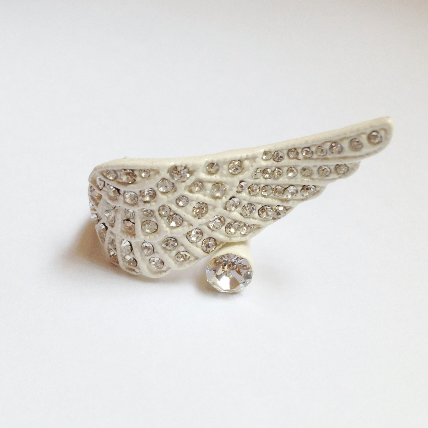 White Angel Wings Ring, with Austria Rhinestones, Thumb Ring, First Finger