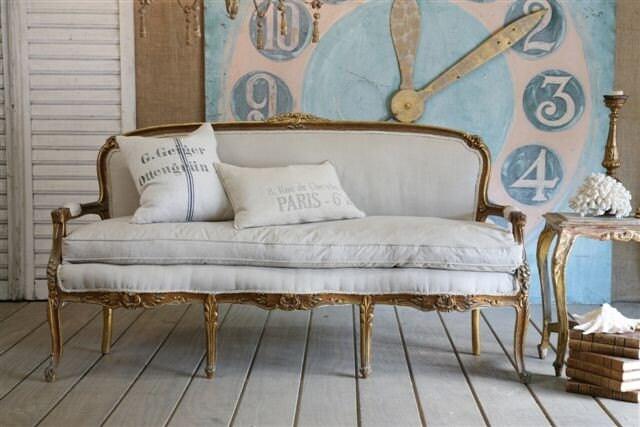 vintage FLAX LINEN juliette sofa