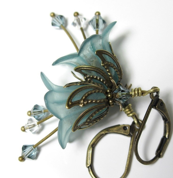 Aqua Frost Vintage Style Flower Earrings