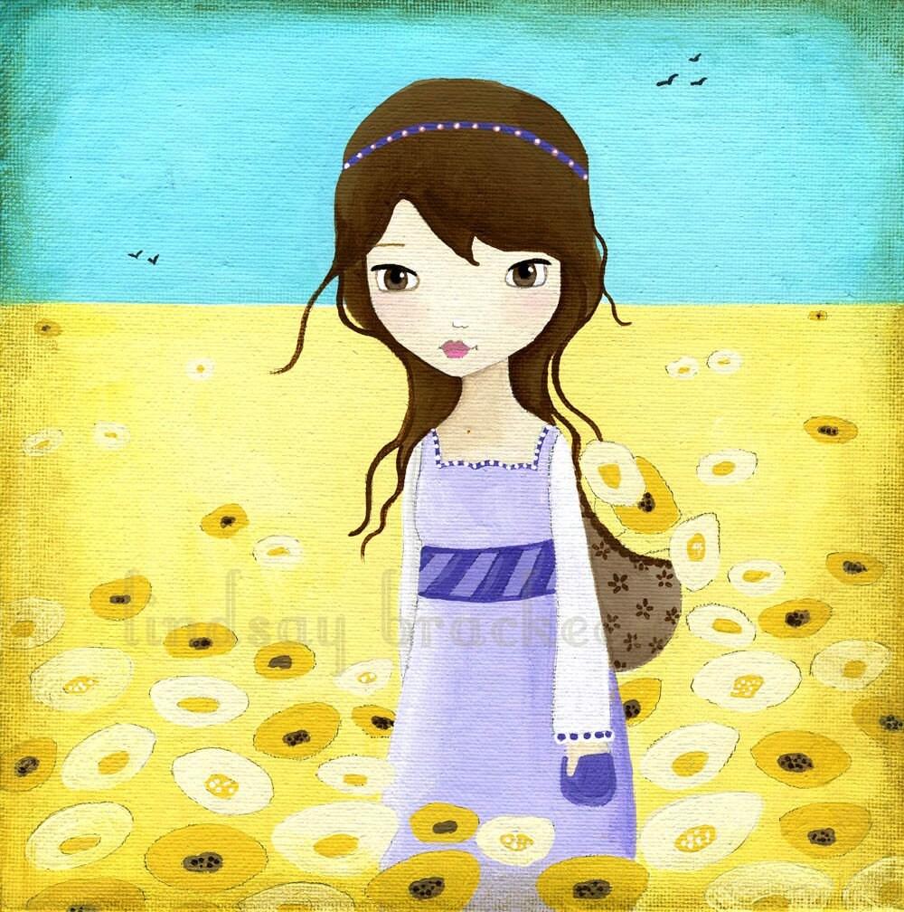 Shabby Chic Country Girl Yellow Art Print