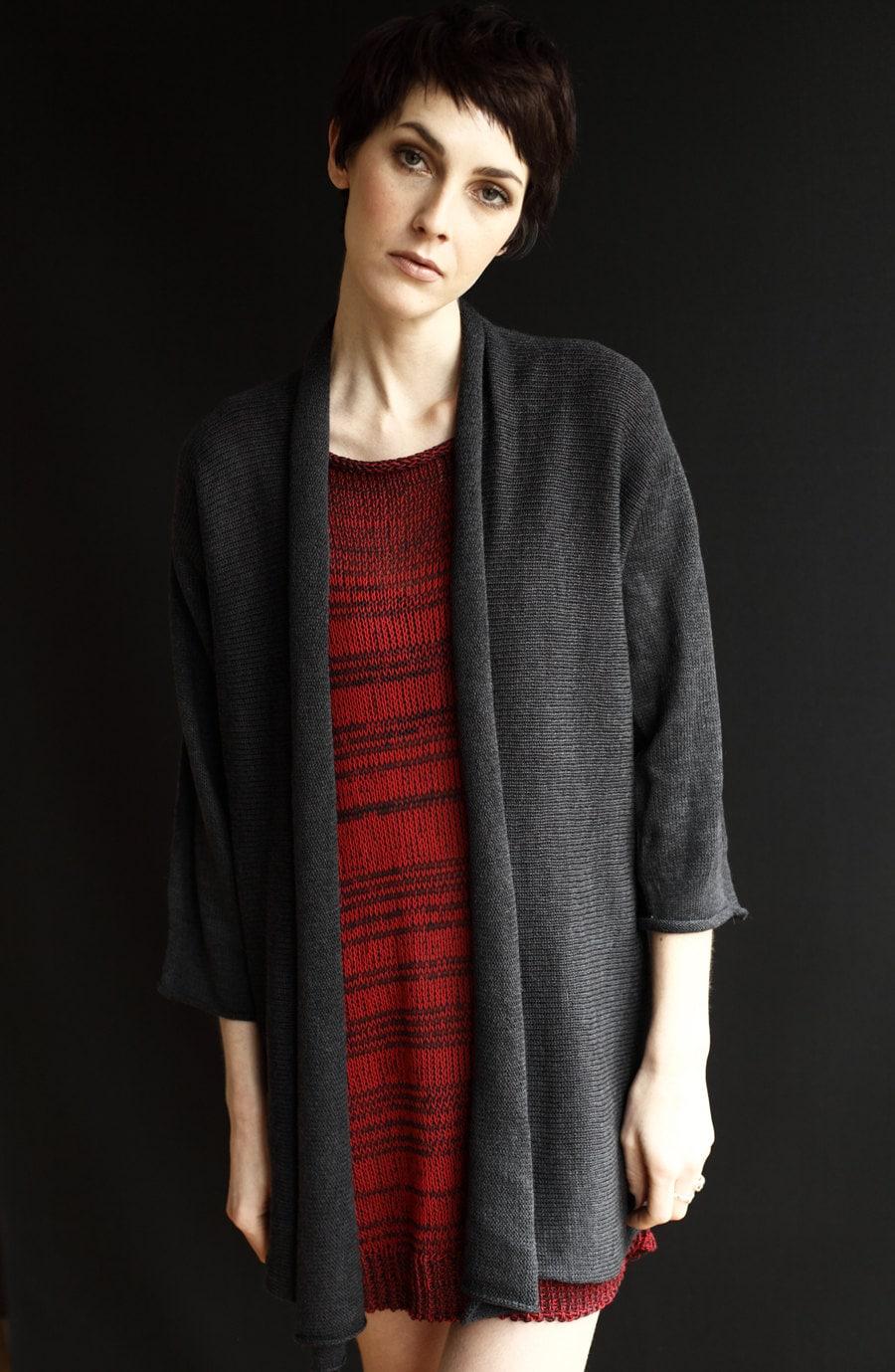 Merino Wool Kimono Cardigan Knitted Open Sweater Shawl Collar Upper Thigh To MidThigh Length HandMade HandLoomed Charcoal Grey