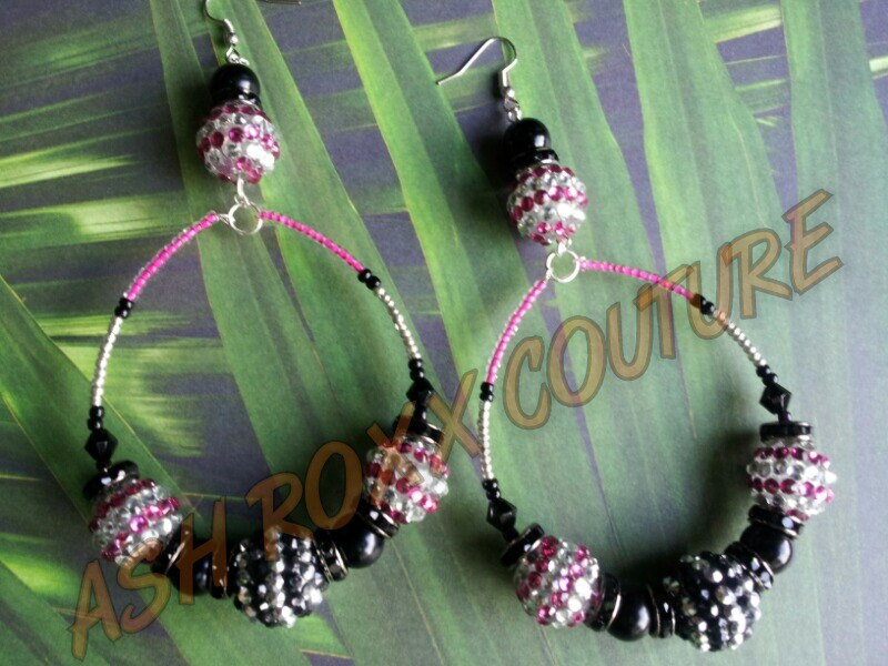 "Love and Hip Hop Basketball Wives Inspired Pink Black Silver Dangle ""Party at the Beach"" Hoop"