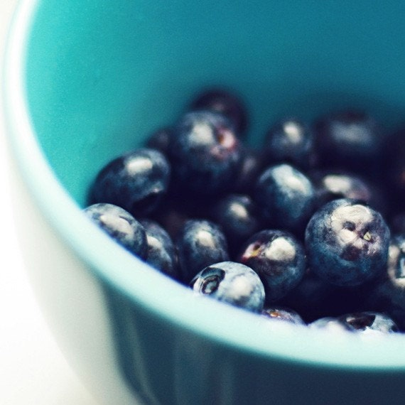 FREE SHIPPING - Bowl of Blueberries. 8x8 fine art photograph