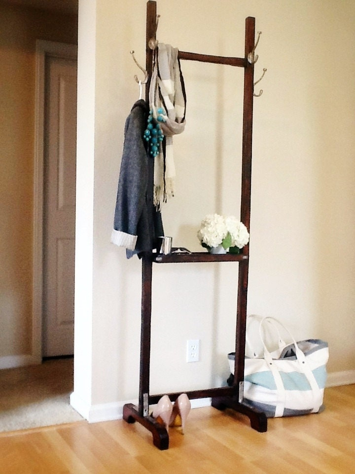 Wood coat rack hall tree by craftsmanwright on etsy - Adding character to your hallway with a hall tree ...