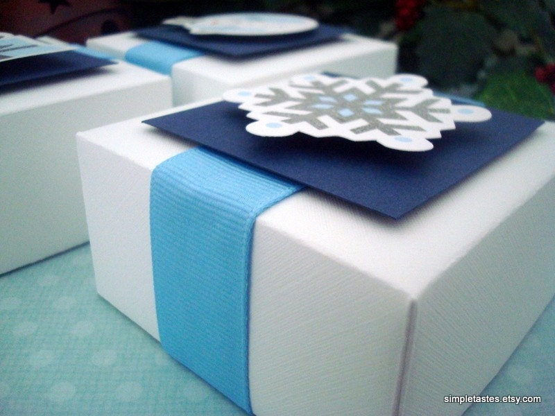 Winter Wonderland Party Favor Boxes, Blue and White, Set of Ten - SimpleTastes