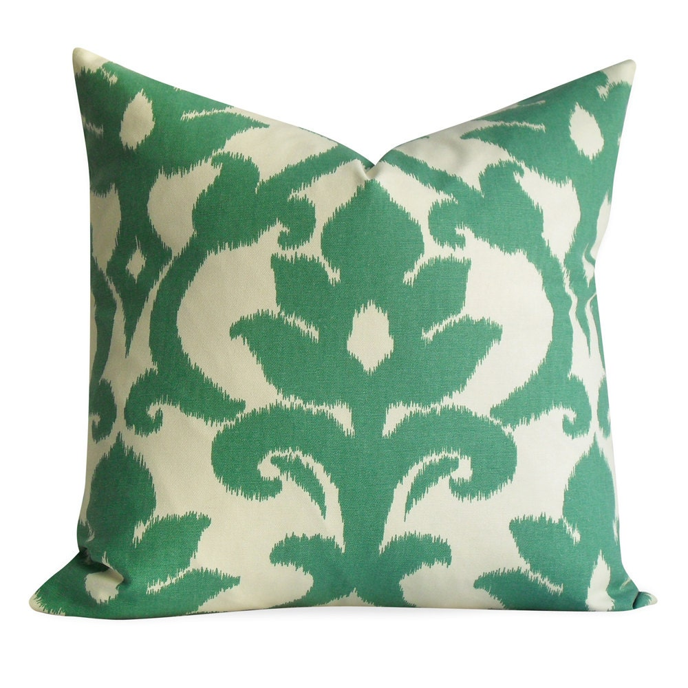 Ikat Pillow Cover  - SAME Fabric BOTH Sides - Invisible Zipper - 18x18 20x20 - accent pillow, throw pillow, pillow case