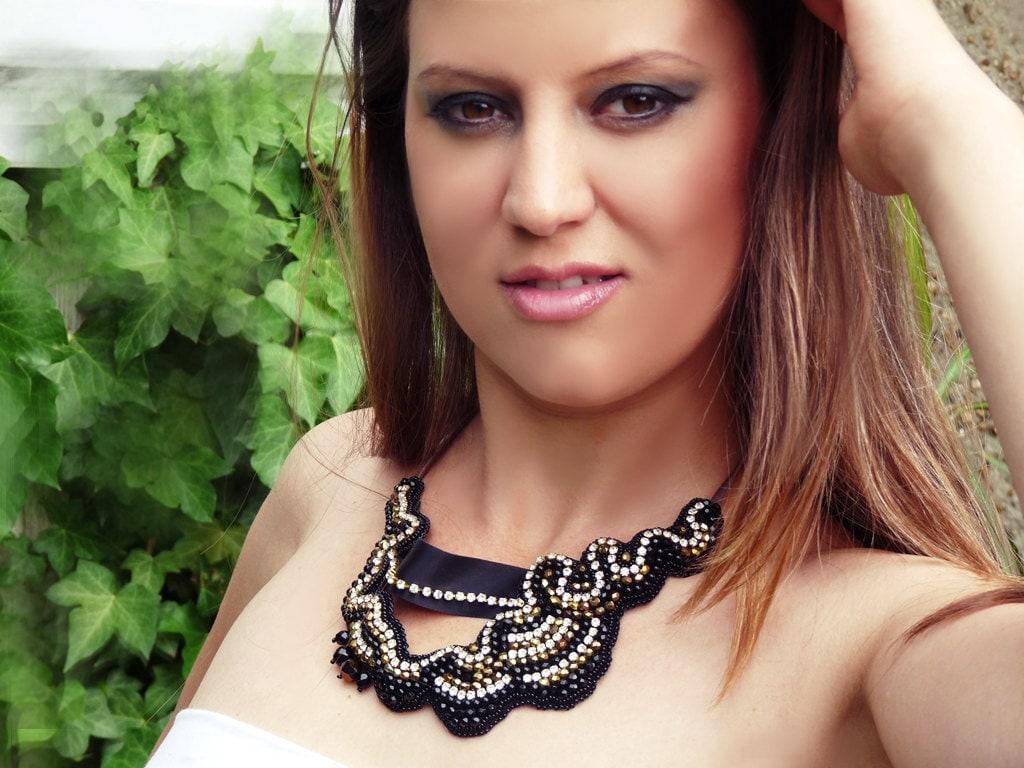 Рок Chic ожерелье Chick.  Роскошное ожерелье из бисера вышитые.
