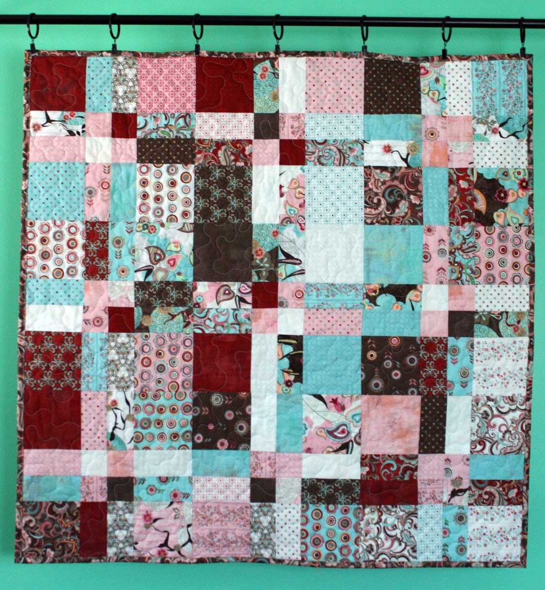 blush baby quilt - - double dutch floral baby crib or wall hanging quilt