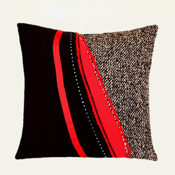 AbstractRedBlackGreyDecorativeThrowPillowCaseFits