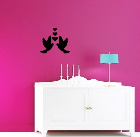 Love Birds with Hearts Wall decal