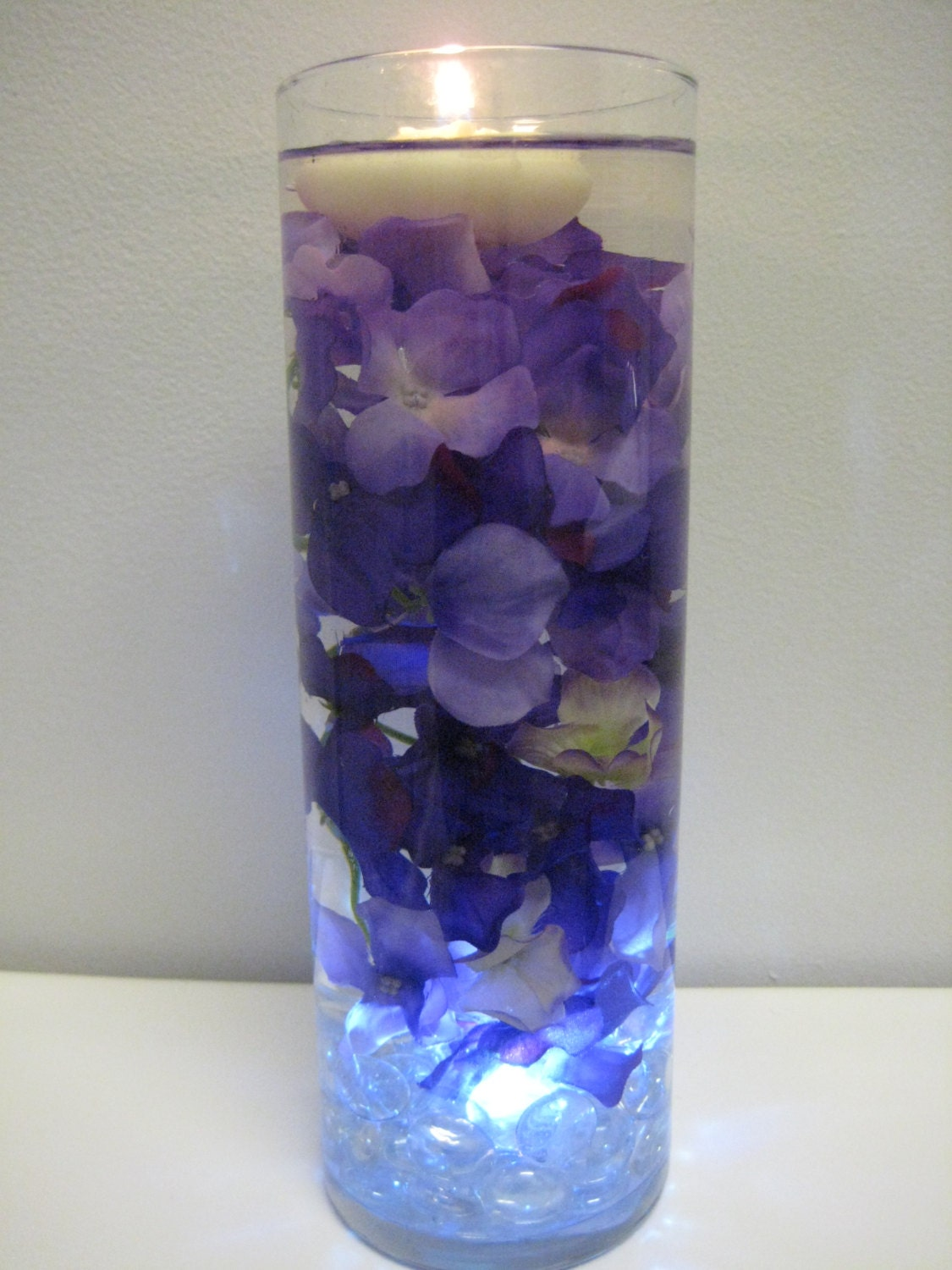 Purple hydrangea floating candle home decor kit by mybarbieart