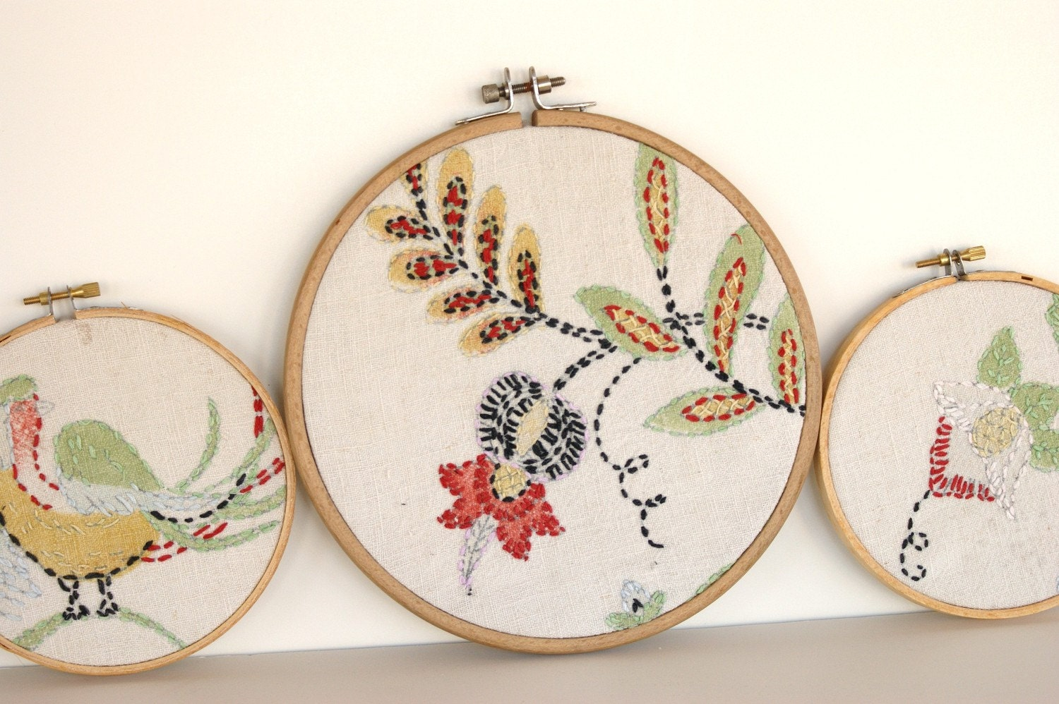 Vintage Set of 3 Embroidery Needlepoint Fabric Hoop Wall Hanging Cotton Flowers Bird Shabby Chic by LeeLeescloset on Etsy