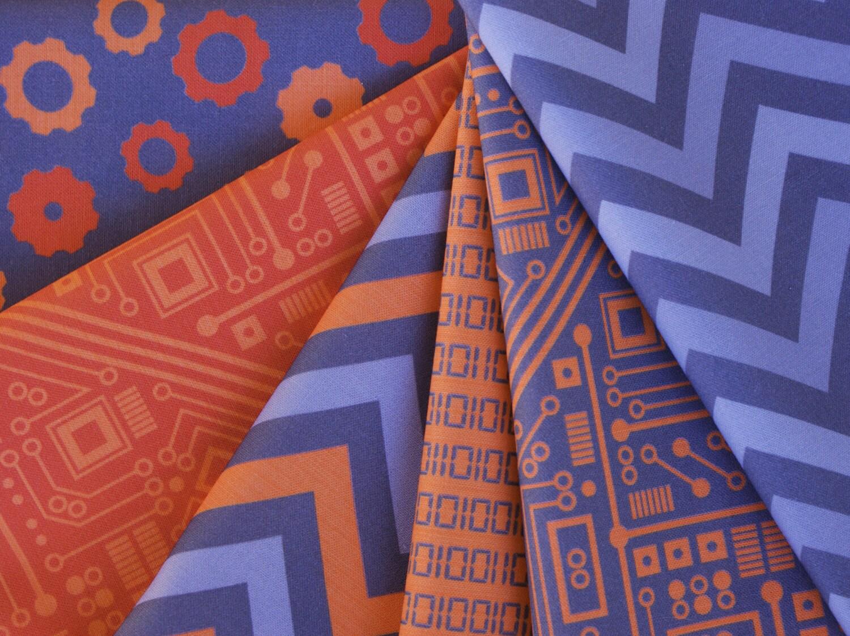 Fat Quarter Bundle: Six Orange Robot Circuit Board Fabrics - robyriker