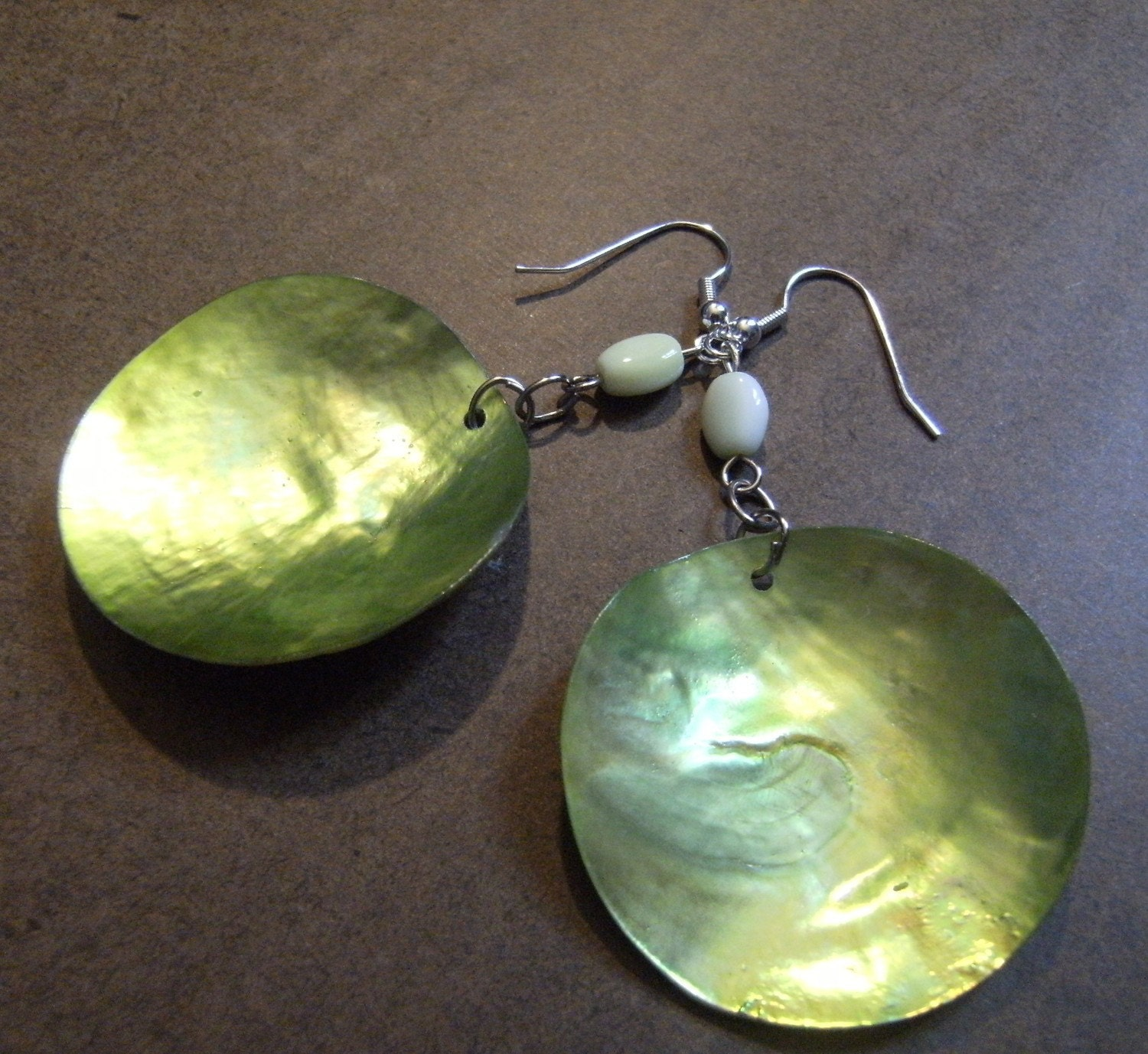 Green Apple Shell Dangle earrings by SatinDollCo on Etsy