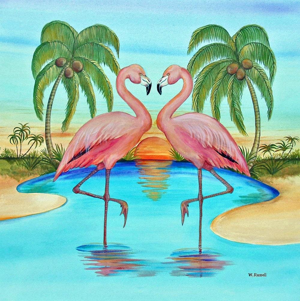Original Painting Flamingo Hearts Afire