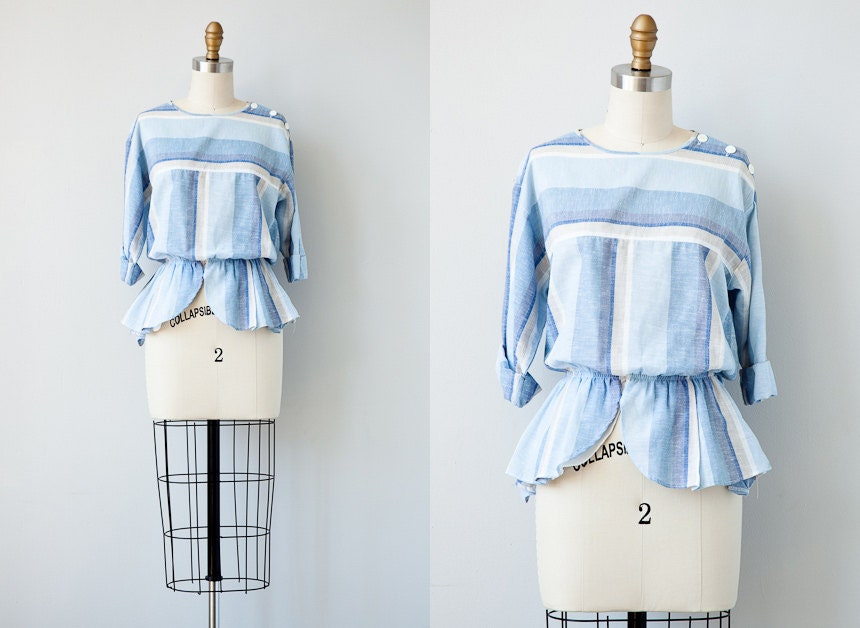 vintage 1980s blouse / vintage peplum blouse / vintage striped 80s blouse / 80s top