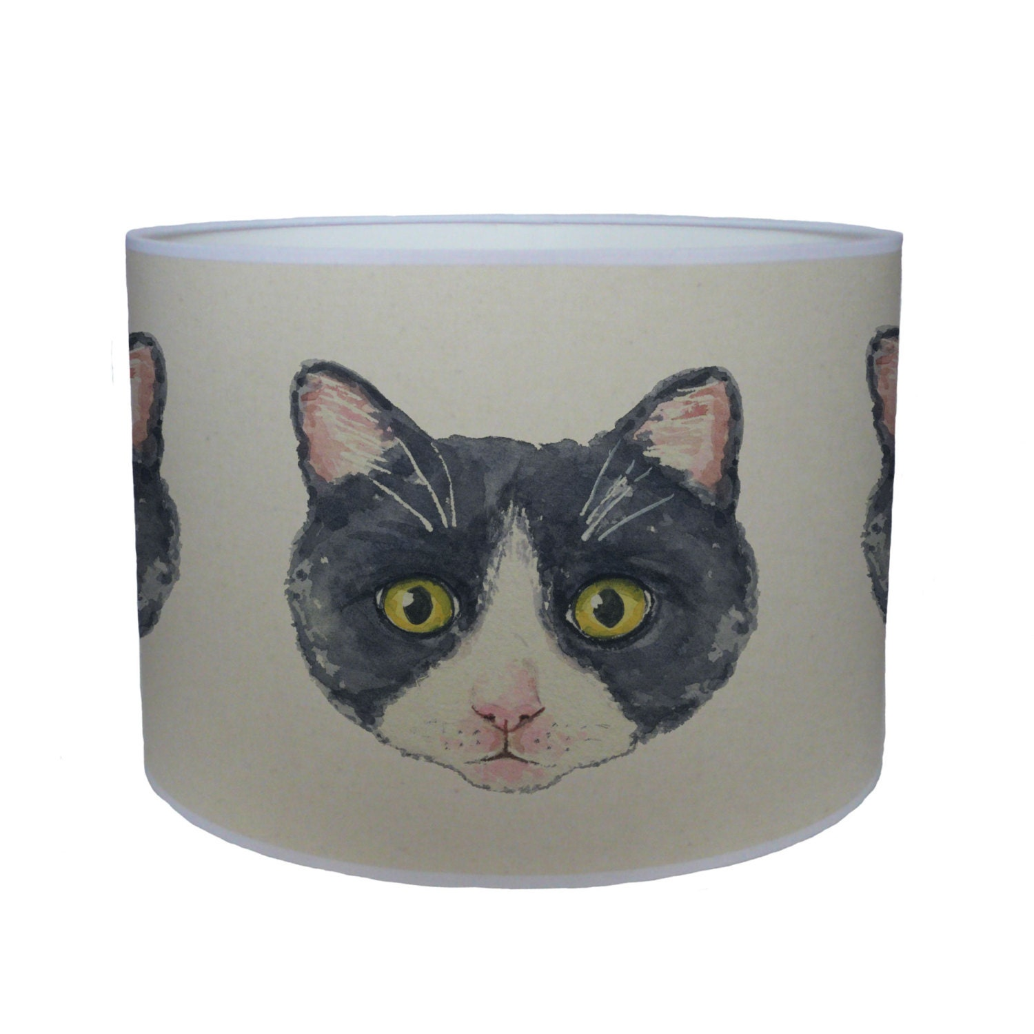 Black and white cat shade lamp shade ceiling shade drum lampshade lighting handmade home
