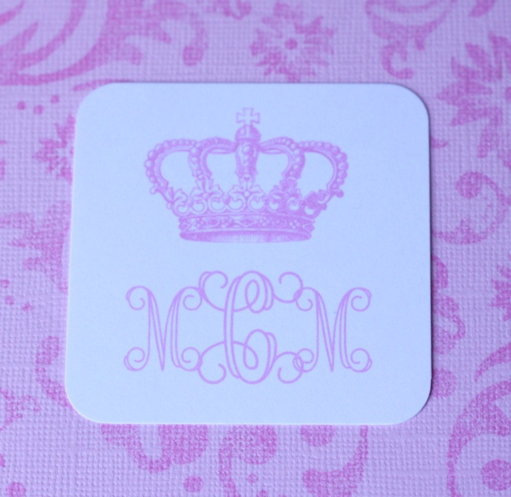 Monogrammed Square Gift Tags - Set of 12- Crown