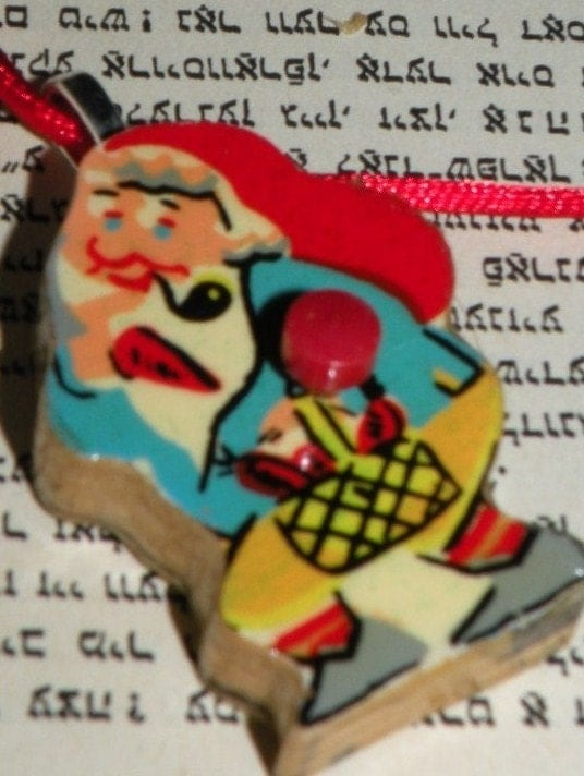 Cranky Gnome PENDANT - Dutch Reclaimed Wooden Game Piece - Puzzle