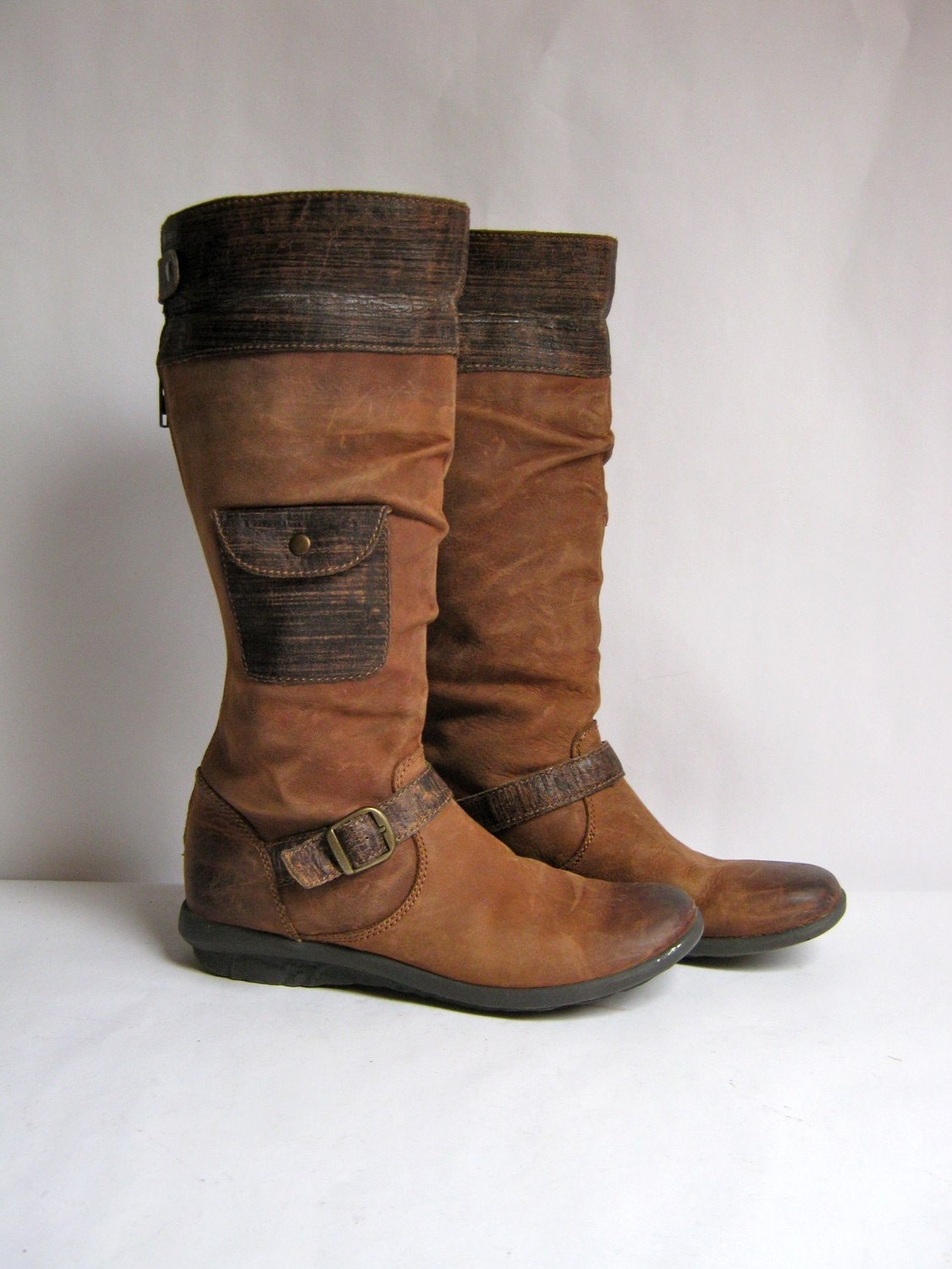 Tall Brown Leather Ruff Hewn Riding Boots By