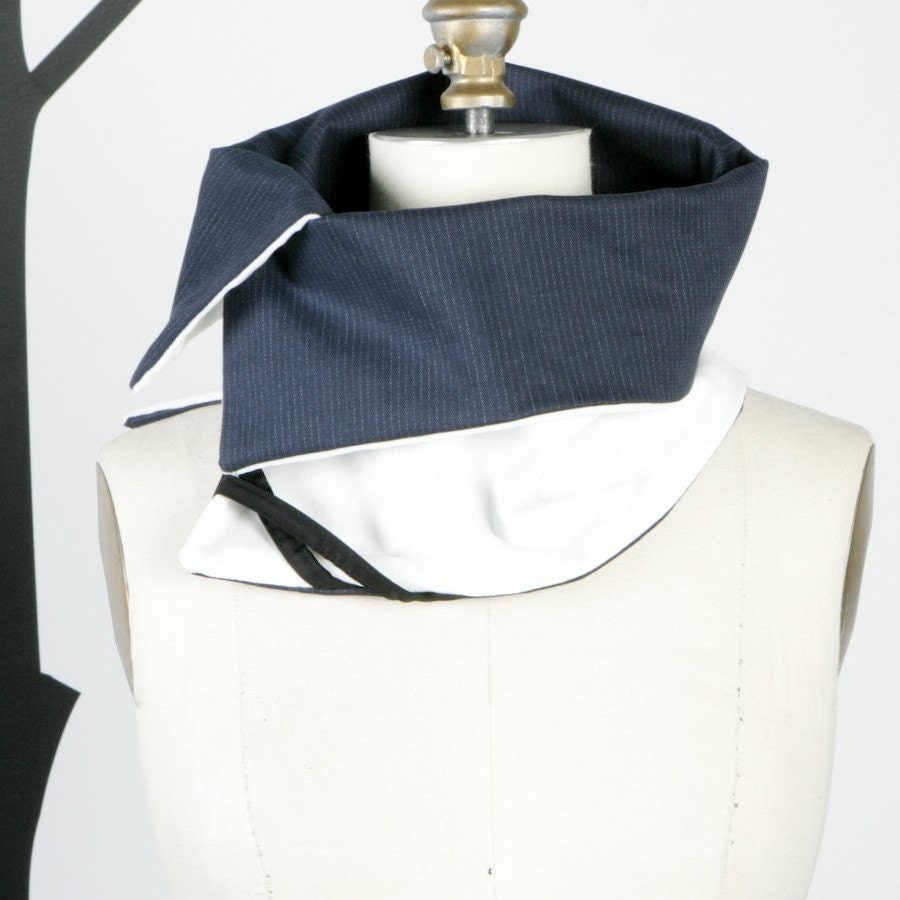 Oversized Structured White and Navy Pinstripe Scarflette Collar Tube  (vegan friendly)