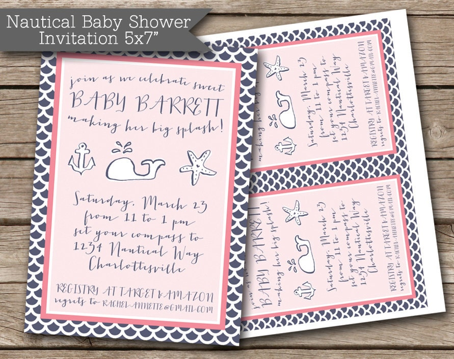 nautical girl baby shower invitation jpeg pdf by rvparties on etsy