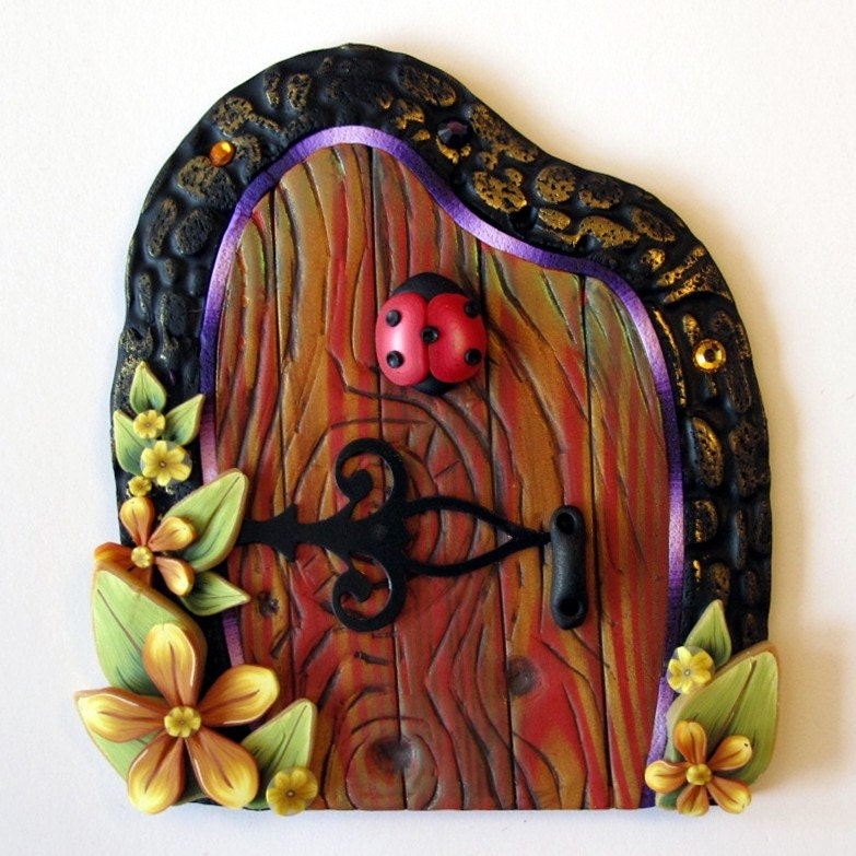 Ladybug fairy door kids wall art home decor by claybykim for Fairy door wall art