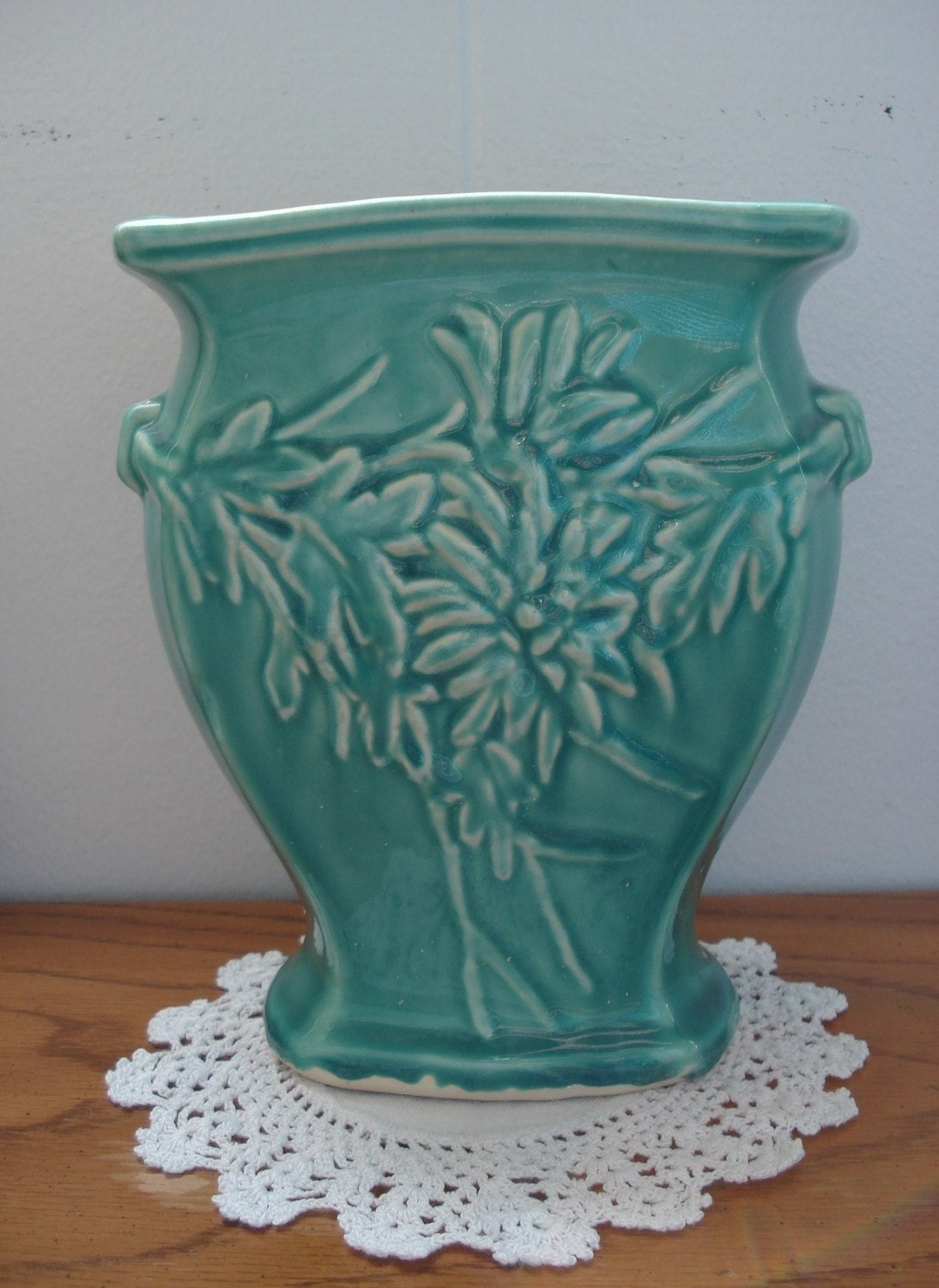 Antique 1940s Mccoy Aqua Turquoise Green Vase By