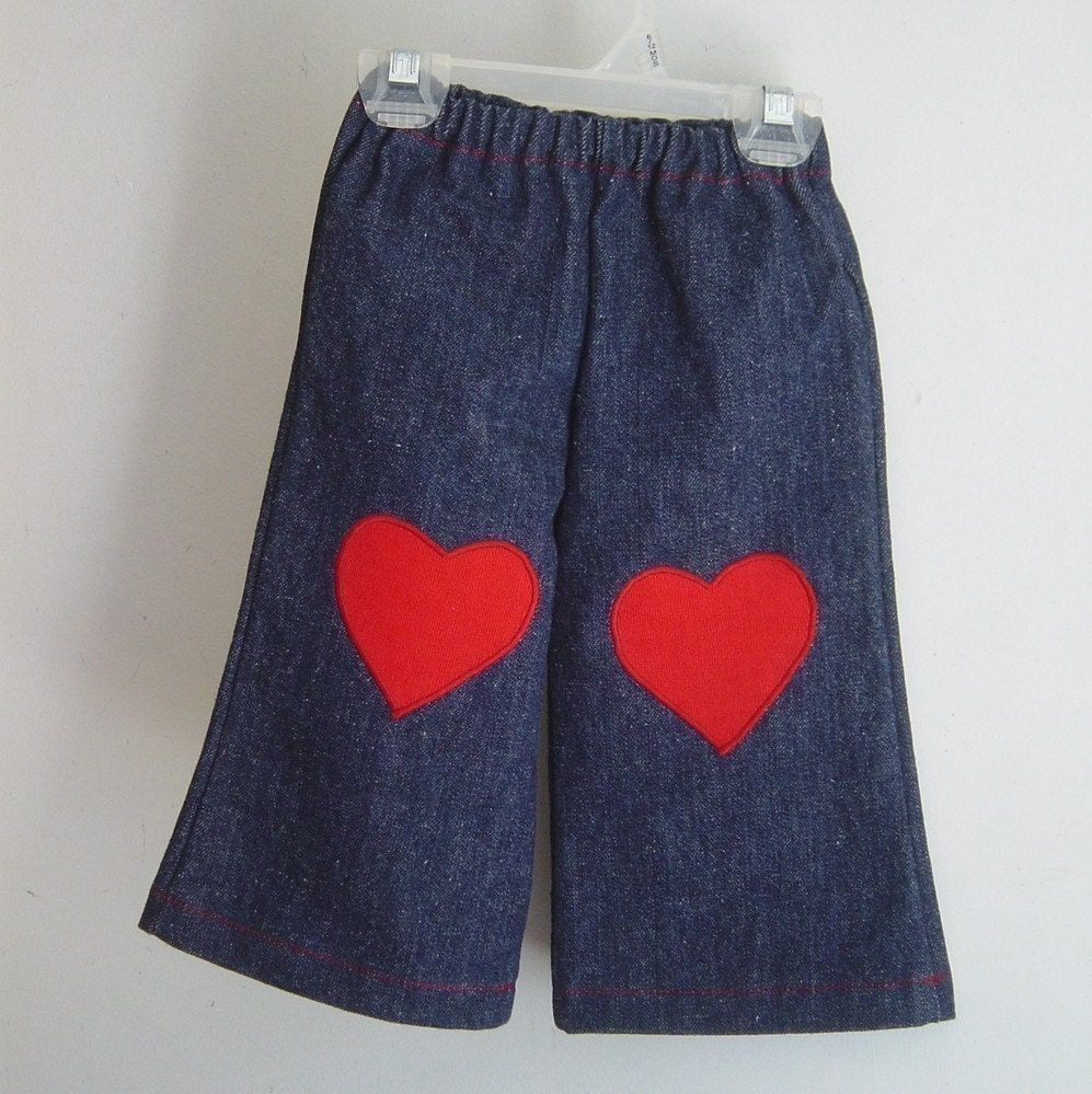 Denim Jeans with Heart Patches - Toddlers Size 12M, 18M, 2T, 3T, 4T
