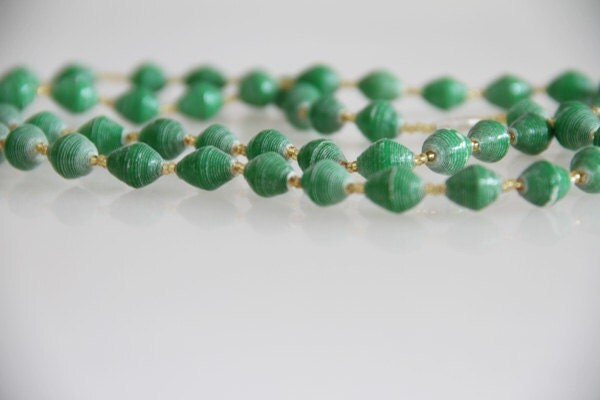 Green Uganda Recycled Paper Bead Long Necklace