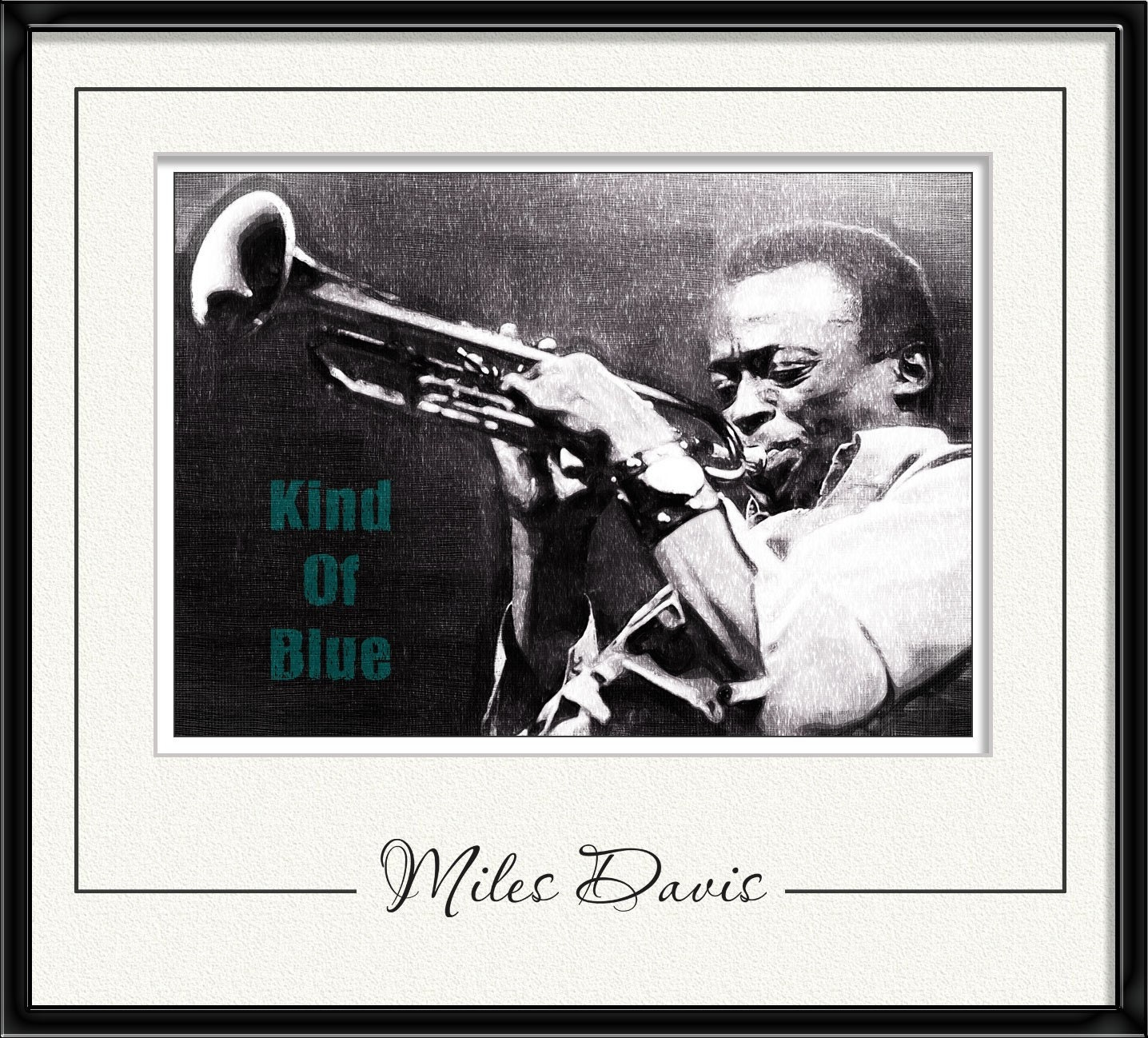 Miles Dewey Davis American jazz trumpeter - limited edition poster - size 11,69 X 16,535 inches