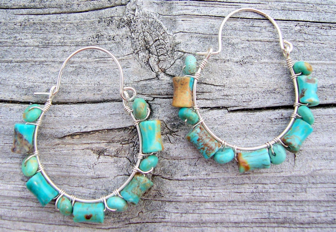 Turquoise and sterling silver wire wrapped hoop earrings, turquoise earrings, turquoise jewelry