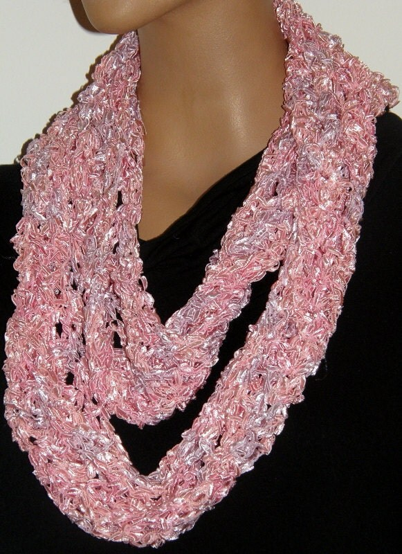 infinity fancy ribbon scarf soft pink by mcleodhandcraftgifts