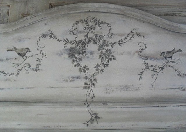 Hand Painted Antique FRENCH Foot Board, BIRDS, Garland, Wall art