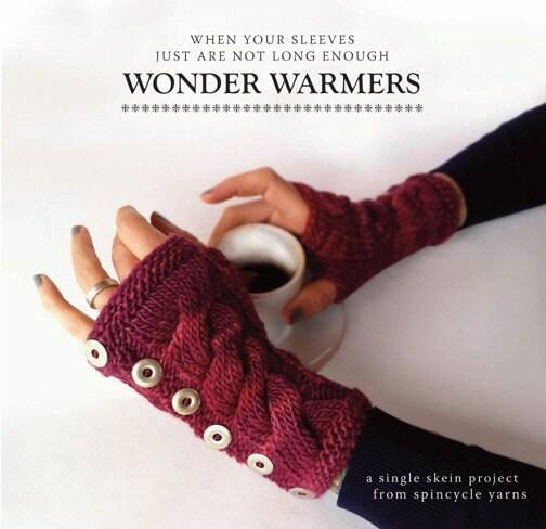 Knitting PDF arm warmers pattern Wonderwarmers by SpincycleYarns