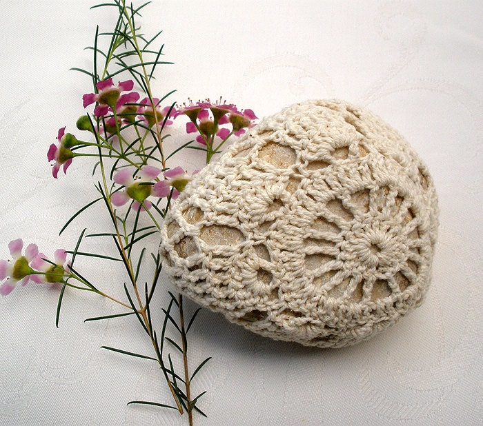 Nature decorated river pebble stone, covered with vintage crochet round motif, hand made by Mina