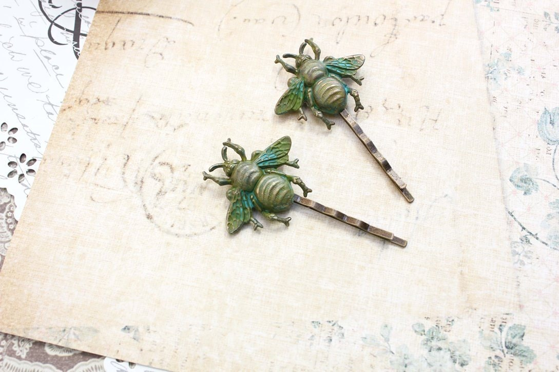Bee Bobby Pins, Honey Bees, Teal Green Patina Brass, Woodland Wedding, Insect, Pair of Hair Pins, Nature Garden, Nature, Forest - apocketofposies
