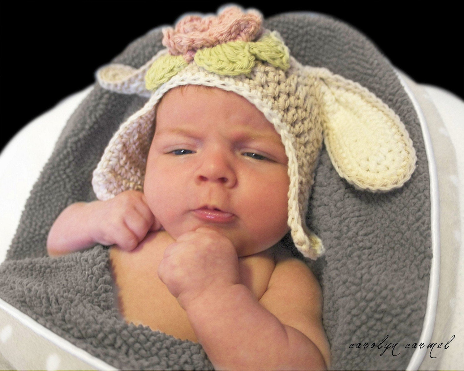 Hoppity Organic Ear flap Hat with Bunny Ears Infant to Adult Crochet Pattern